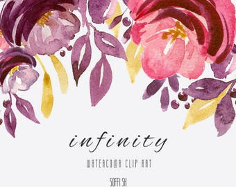Hand Painted - Infinity - Watercolor floral clipart - Isolated elements - Flourish, rose, flowers, romantic, wedding, country, leaves
