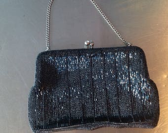 Black shimmery beaded evening bag vintage style gifts for her romantic evening holiday gifts