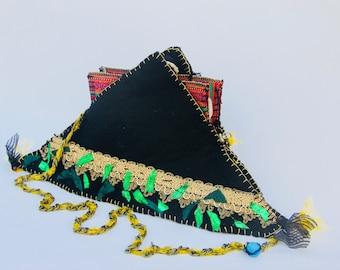 Triangle Crossbody Purse Kilim lace Chain Evil Eye blue Black Unusual Sparkle Wool Felt Hand Sewn