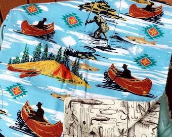 Fishing blanket,fishing baby blanket,fishing toddler blanket,fishing,fish baby blabket,fish blanket
