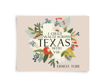 Ernest Tubb Postcard - Waltz Across Texas, Country Music, Pink, Floral, Postcards, Stationary Set, A Fox and Her Hound
