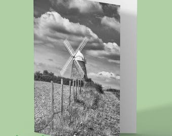 Windmill Greeting Card - halnaker - windmill - photo greeting card - windmill blank card - any occasion card - greetings card