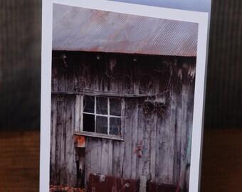 "Photo Note Greeting Card blank - ""Deserted"" / Barn / Grey / Weathered / Window / Autumn"
