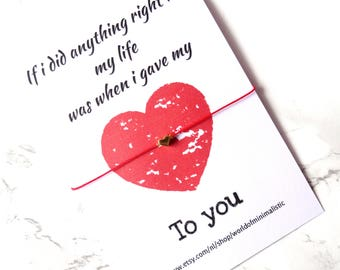 Heart bracelet - make a wish heart bracelet - friendship bracelet gift - minimalist bracelet - red string bracelet - adjustable bracelet