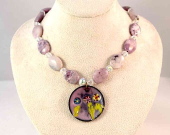 Handmade Enamel Pendant and Beaded Necklace - Purple - Crystal - Agate - Flowers - Concave - One-of-a-Kind - Gifts for Her - Christmas