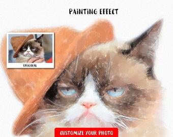 Custom pet portait, cat painting, cat portrait, watercolor painting, cat watercolor, custom cat painting, cat drawing, pet portraits