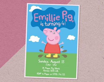 Peppa Pig Digital Personalised/Personalized Birthday Party Invitation