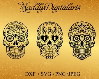 Sale!Sugar Skull SVG Collection - Candy Skull DXF - Sugar Skulls Clipart - SVG Files for Silhouette Cameo or Cricut