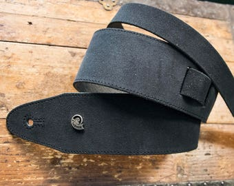 Etabeta Guitar Strap-Strap for guitar and bass in real suede leather-VELVET skin-black-Made in Italy