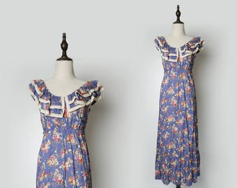 Bohemian Blue Grey Soft Maxi Dress I Red Flowers Flora Print I Beige Laced Double Ruffle Layers Collar I Sleeveless Size S - M
