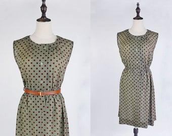 Vintage Dress, Upcycled Vintage Dress, Vintage Japanese Dress, Brown Polka Dot Round Neck Olive Green Vintage Women Dress Size S- M