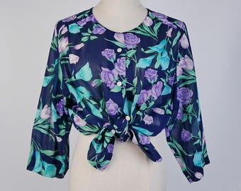 Vintage Blouse, Violet Flower Print Crew Neck Long Sleeves Navy Women Blouse Size S-M