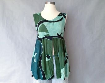 vintage abstract pattern sleeveless blouse/tank top women's size S/M