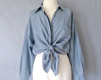 vintage silk blouse/ minimalist silk top/ silk shirt/ 80s silk top/ blue women's size S/M