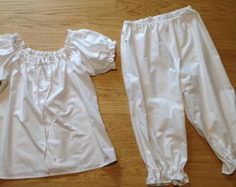Victorian style pyjamas set camisole / negligee / top and bloomers / drawers / knickers / shorts, steampunk, sizes 4-30