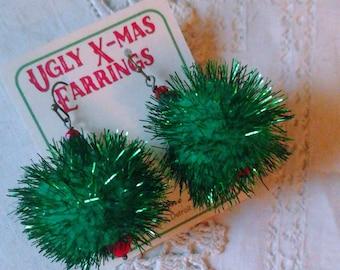 Ugly Christmas Earrings in Green
