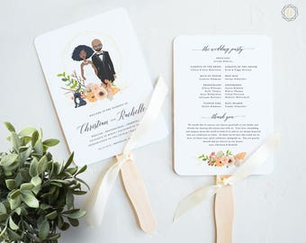 Illustrated Couple, Personalized Wedding Program, Boho Wedding Program, Wedding Program Fan, Order of Service, Diy Wedding Fan #IPP