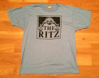 Large 80's The Ritz men's vintate T shirt blue black Puttin On The Ritz 1980's Screen Stars