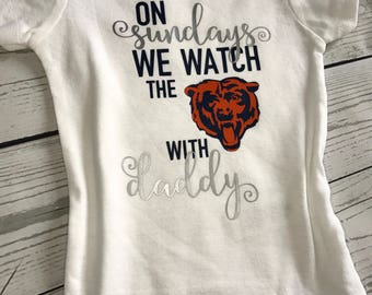 "Handmade, Personalized ""On Sundays We Watch Football With Daddy"" Onesie, Baby Football Season Bears - Panthers - Jaguars - Any Team Availabl"