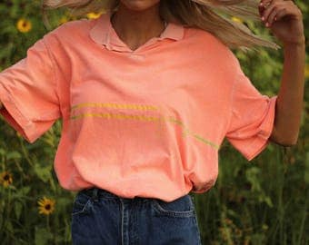 Vintage Neon Coral Collared Shirt