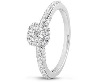 Round Cut Diamond Engagement Ring IN 14K White Gold  1/2 CT