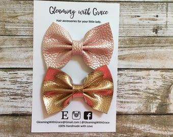 Rose Gold Hair Bow, Gold Hair Bow, Rose Gold Headband, Rose Gold Clip, Gold Hair Clip, Gold Headband, Pigtail Bow, Piggy Bows, Mini Hair Bow
