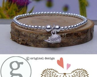 Gorgeous & Cute Sterling Silver Hedgehog Stretch Stacking Bracelet