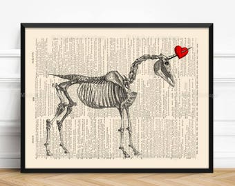 Unicorn Skeleton, Unicorn Red Heart, Gothic Girl Gift, Dorm Decor, Mythical Creature, Lesbian Couple Print, 1st Year Anniversary, 468