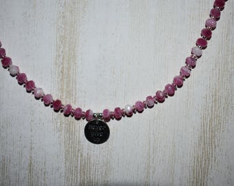 """Jewelry - Necklace - Pink Picasso Beads - Sterling Silver - """"Never Give Up"""" Sterling Silver Charm"""