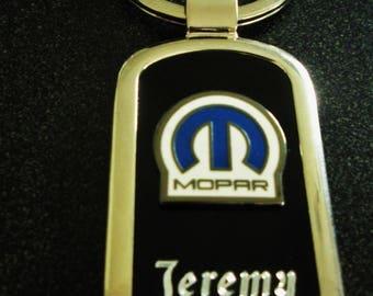 Mopar/Chrysler Black Onyx & Silver Keychain-Free Engraving