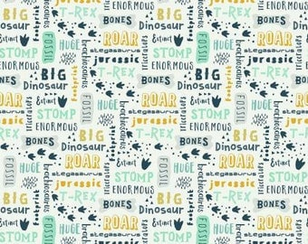 Fossil Rim Dinosaur Words in Cream from Deena Rutter for Riley Blake cotton spandex lycra, jersey 4way stretch K6611R-CREAM dinosaurs