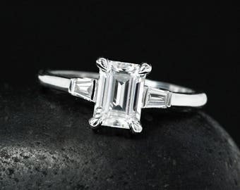 Emerald Cut Forever One Moissanite Engagement Ring - Baguette Diamonds - Modern Engagement Ring