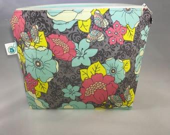 Flower knitting crochet craft zippered project bag
