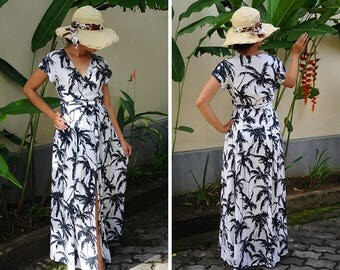 Long Dress, Wrap Dresses, Maxi Summer Dress, Palm Tree Dress, Black and White Dress, Party Gown, Gift for Her