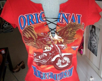 Vintage 1990s Original Harley Davidson Denver Sturgis Americana Biker Retro Lace Up Top Sz XS