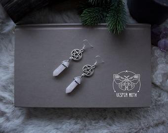 Pentagram Rock Crystal Earrings