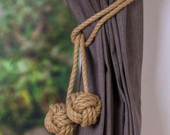 Clearance Hemp Rope Tie-backs/ Rustic Hemp Rope ties/ Monkey Fist Knot Curtain Tiebacks / shabby chic windows/ Rope Tiebacks/ nautical ties