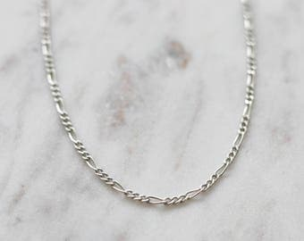 Silver Chain Choker - Figaro Chain - Everyday Jewelry - Layering Necklace - Sterling Silver Necklace - Minimalist Jewelry - Chain Necklace