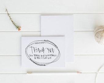 Christian Thank You Card - Original Hand Drawn Card - Eco Friendly