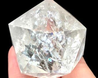 366 ct Icosahedron D20 Clear Quartz Crystal Sacred Geometry Platonic Solids I15