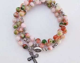 Coral and Green Jade Stretch Rosary Bracelet