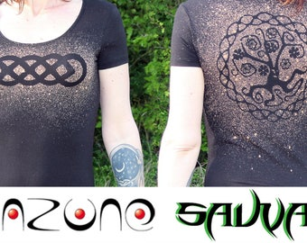 Orange faded black tunic, braided Celtic and tree of life