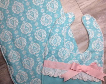 Cute Girl Bib and Burping Cloth Set - Aqua, Pink & White Eyelet with Bow - Spring Baby Bib - Cute Brocade Bib - Great Shower Gift - Modern B