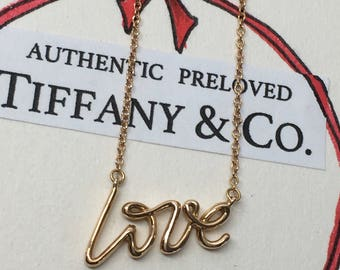 Excellent Authentic Tiffany & Co. Paloma Picasso Graffiti Love Necklace Rose Gold  750 18K
