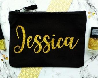 Personalised Make Up Bag, Name Make Up Bag, Personalised Cosmetic Bag, Makeup Bag, Bridesmaid Gift, Custom Make Up Bag, Name Pencil Case