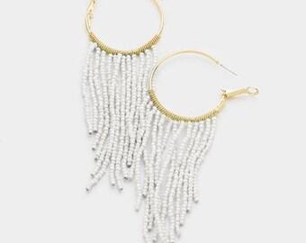 seed bead hoop earrings, beaded hoop earrings, beaded hoops, seed bead earrings, gold white beaded hoop earrings, fringe hoop earrings