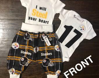 Pittsburgh Steelers Outfits / Harem Pants (Fleece or Flannel) & Custom Onesies
