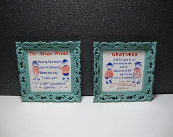 "Pair of Cute Ceramic Trivets with Ornate Metal Frames Marked ""Cherry"" Made In Japan 'Neatness' & 'The Magic Words' Fun Kitschy Home Decor"