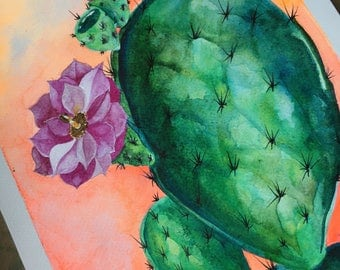 Ilustración. Watercolor print. Print Cacti Desert. Wall Art. Cactus for your home.