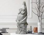 Nano da giardino low poly geometrico scultura cemento NINO Grigio